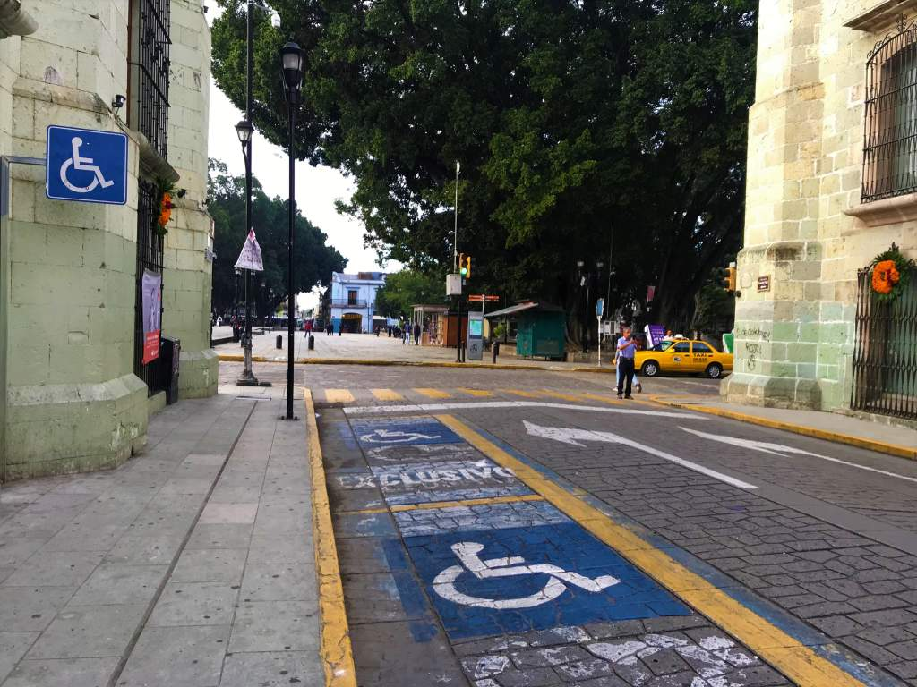 Wheelchair accessible parking spaces in Oaxaca.