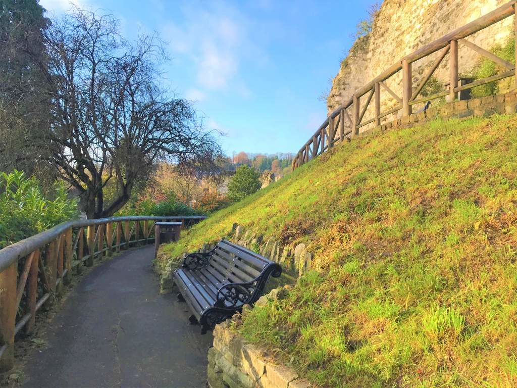 A wheelchair accessible path at the Guildford Castle grounds.