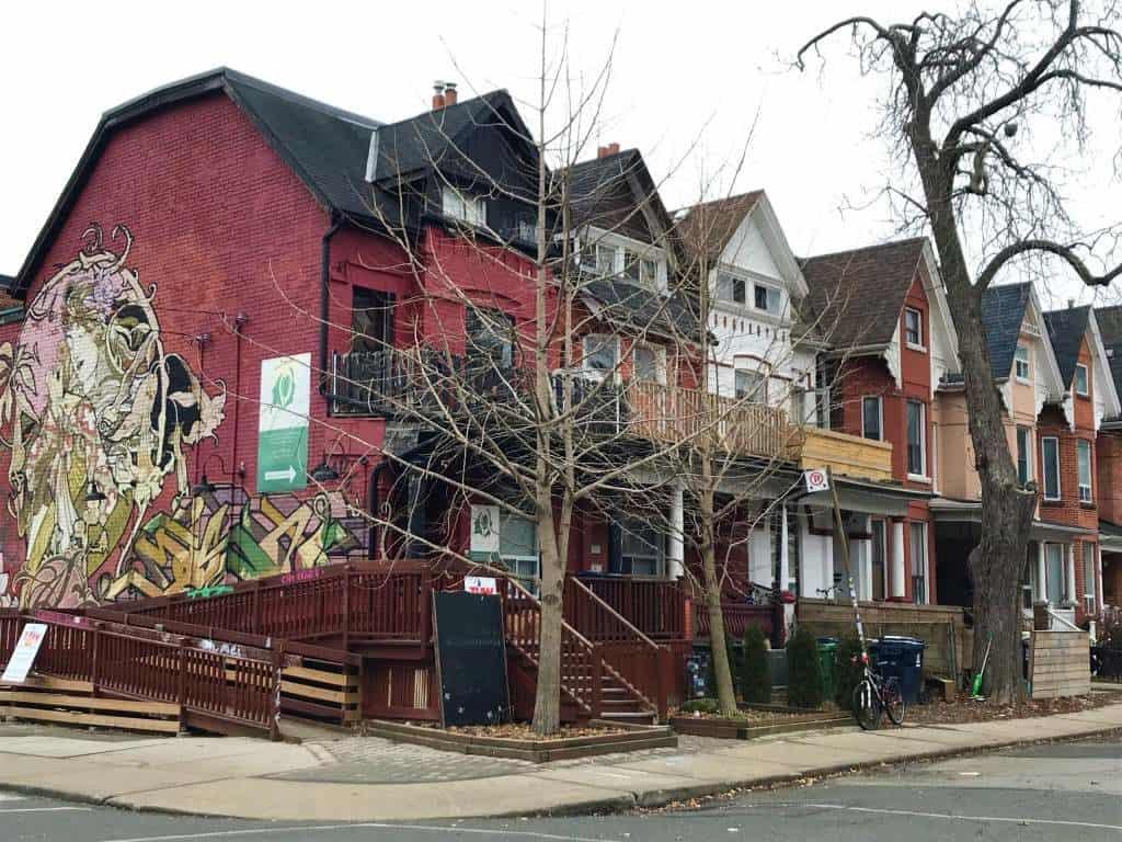 Brick houses in Kensington Market, Toronto.