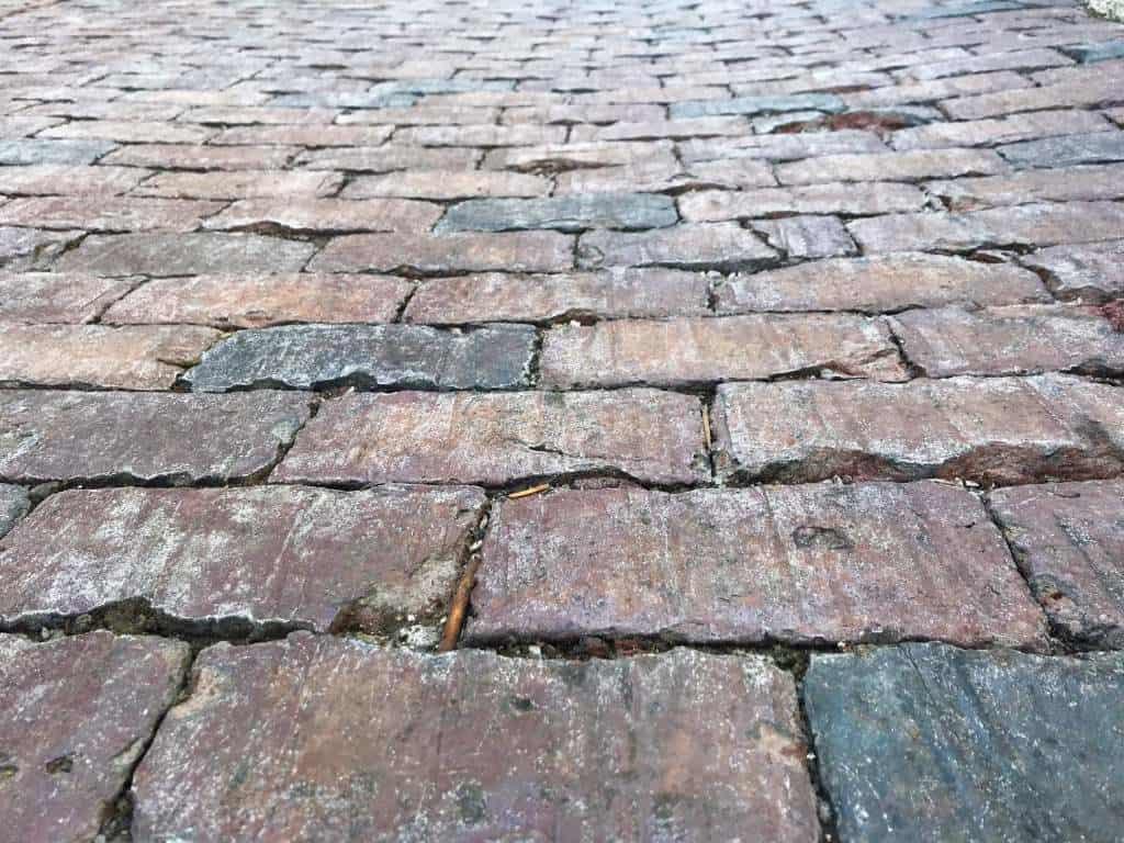 Cobblestone brick in the Distillery District of Toronto.