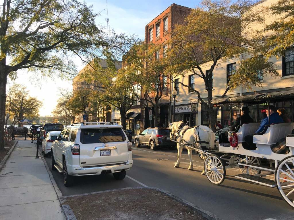A horse drawn carriage in downtown Wilmington.