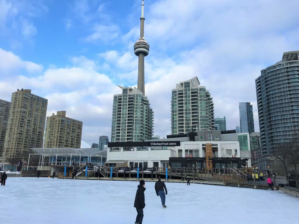 The Harbourfront skating rink in the winter.