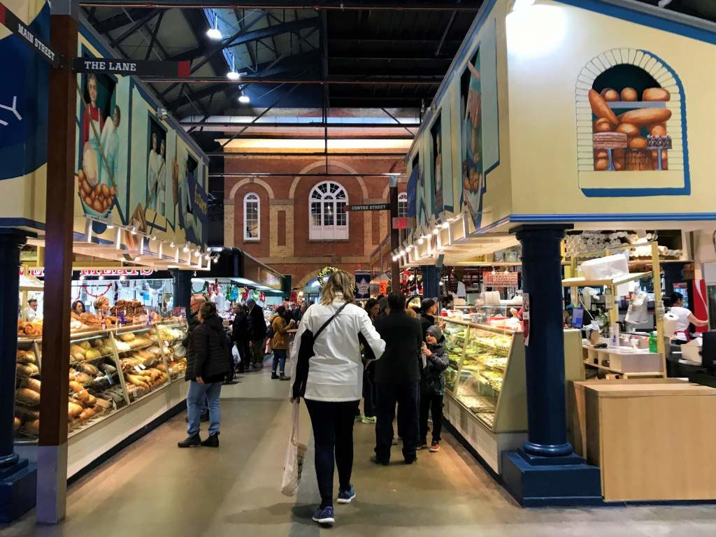 Wide, wheelchair accessible aisles at the St. Lawrence Market in Toronto.