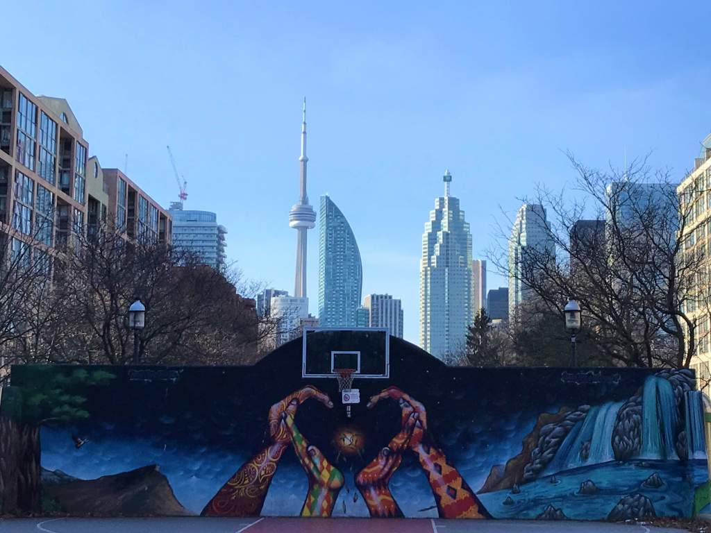 Basketball court with the CN Tower as a backdrop.