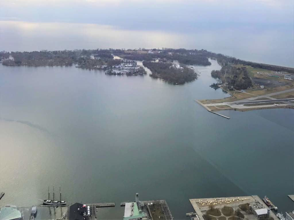 A view of the Toronto Islands from the CN Tower.