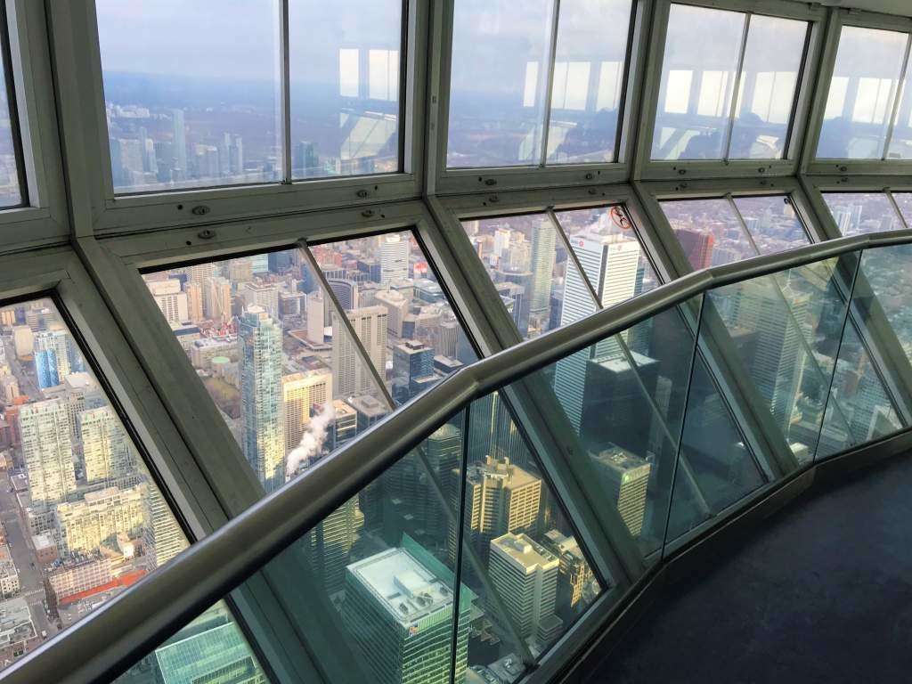 Wheelchair accessible views from the CN Tower in Toronto.