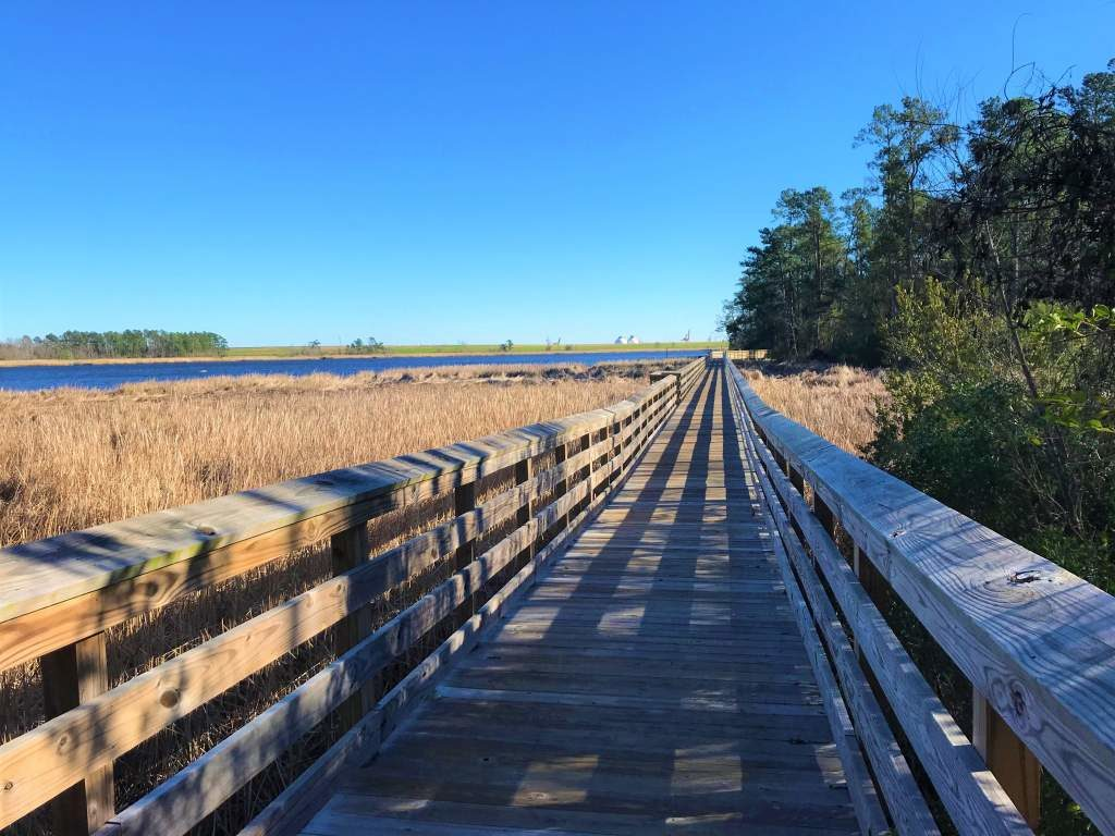 The wheelchair accessible wooden boardwalk at the Brunswick Riverwalk in Wilmington.
