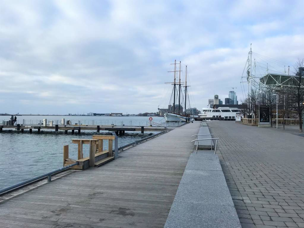 The wheelchair accessible boardwalk at Harbourfront, Toronto.
