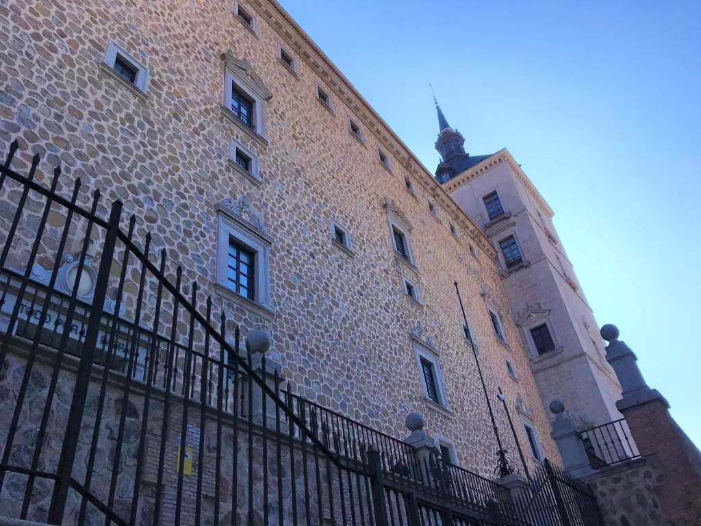 A close up view of the stone Alcazar building.