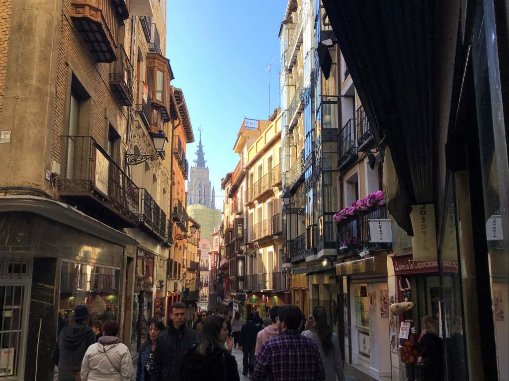 The crowded, narrow streets of Calle Comercio make wheelchair accessibility in Toledo tricky.
