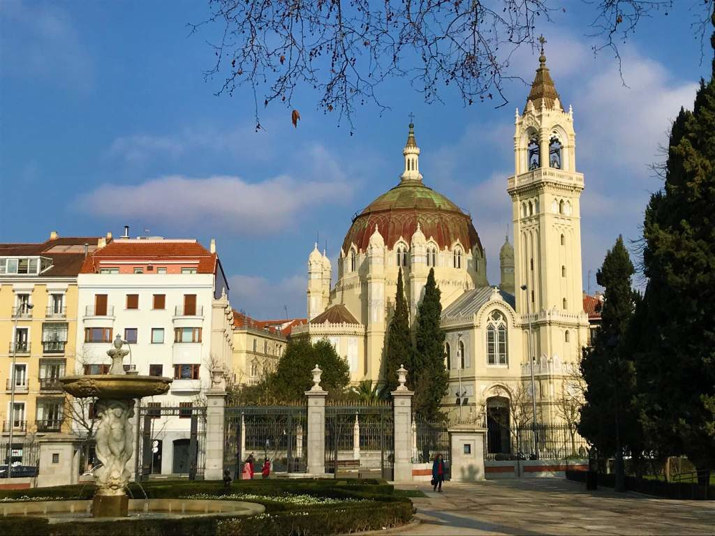 Retiro Park is surrounded by beautiful old buildings and churches like this one.