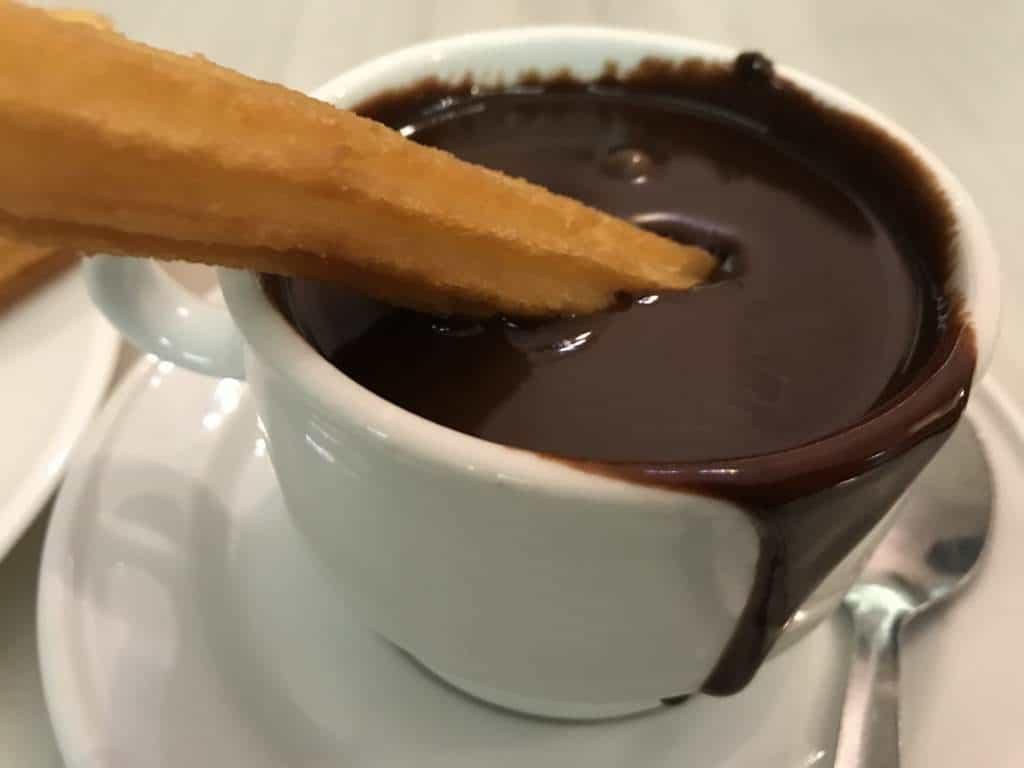 Churros con chocolate from Chocolatería San Ginés.