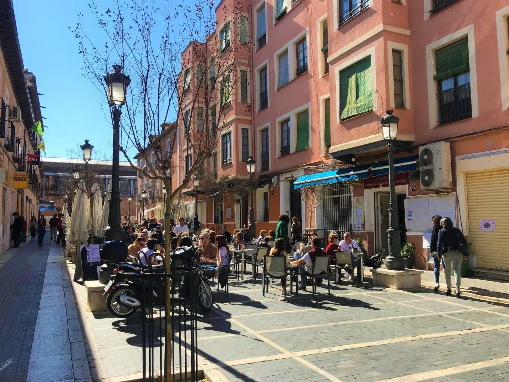 Outdoor restaurant seating in the historical center.