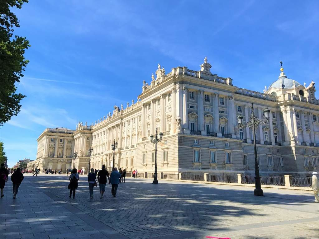 The wheelchair accessible plaza around the Royal Palace in Madrid.