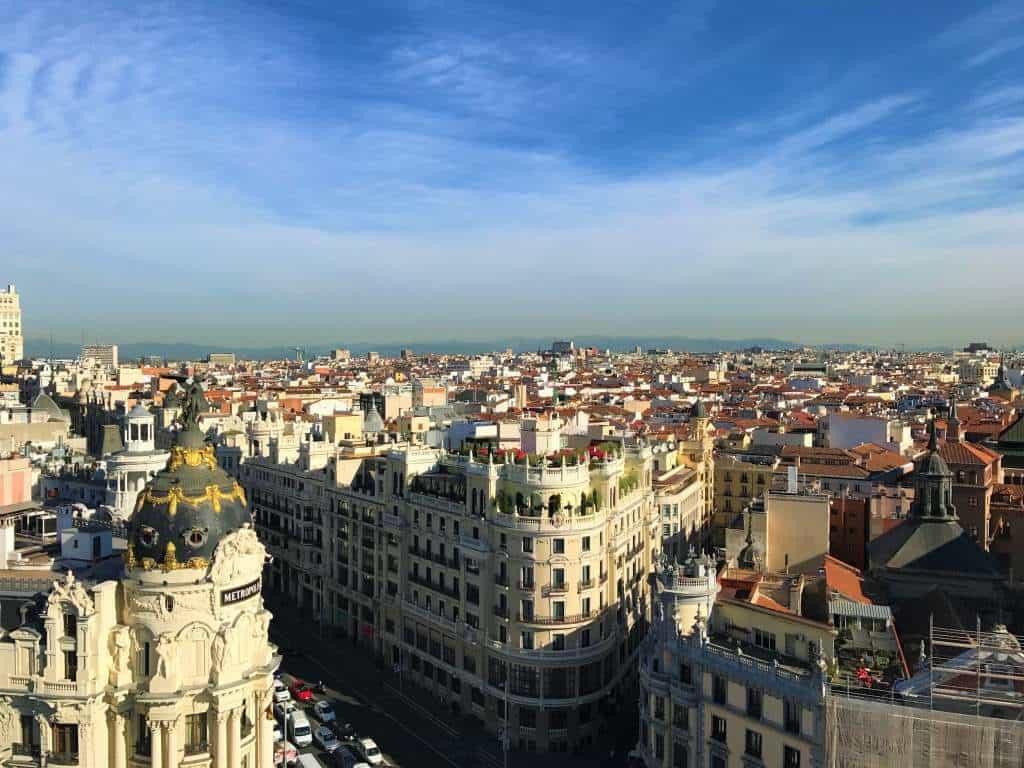 A view of Madrid from the Círculo de Bellas Artes.