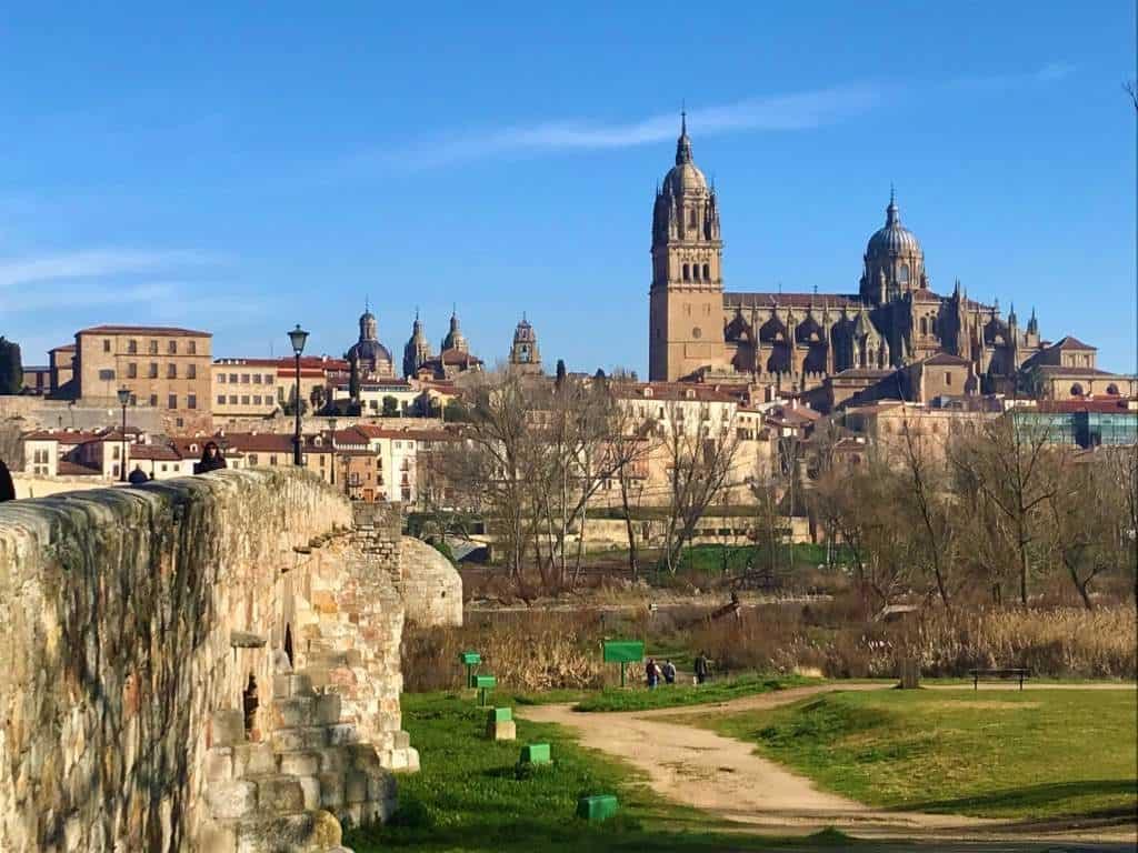 A view of Salamanca from the Roman Bridge.