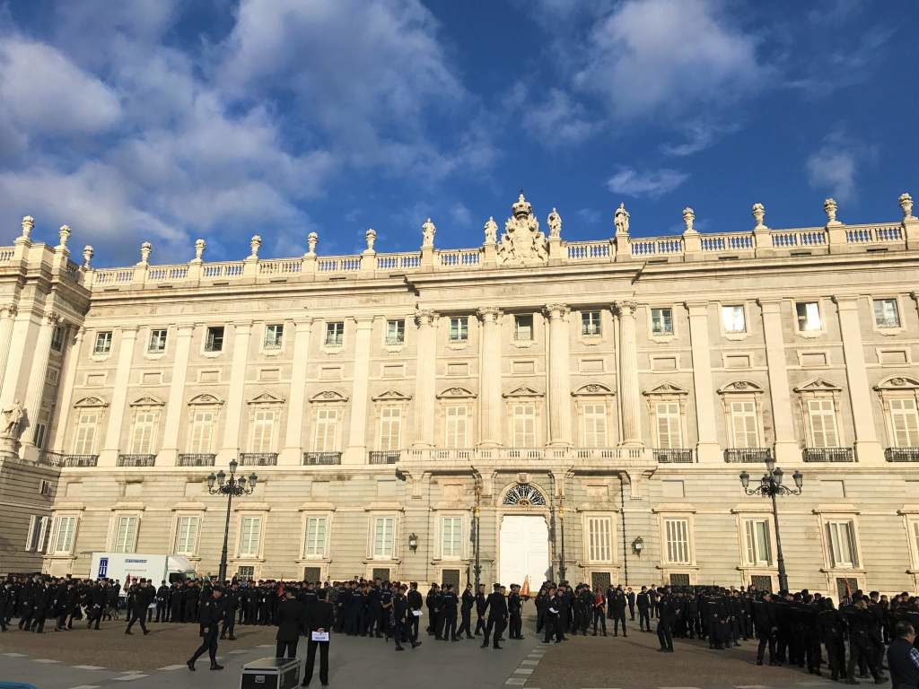 A view of the outside of the Royal Palace.