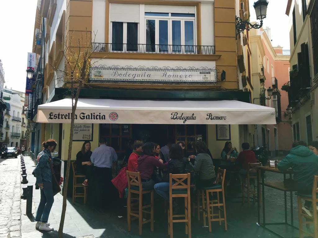 An outside view of Bodeguita Romero, which offers some of the best tapas in Seville.