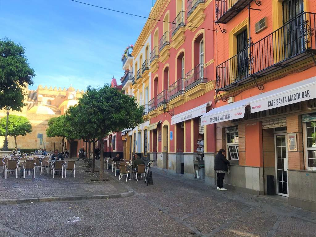 The pedestrian square that Bar Santa Marta is located on.