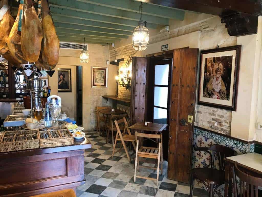 The inside of Casa Román, one of the best tapas bars in Seville.