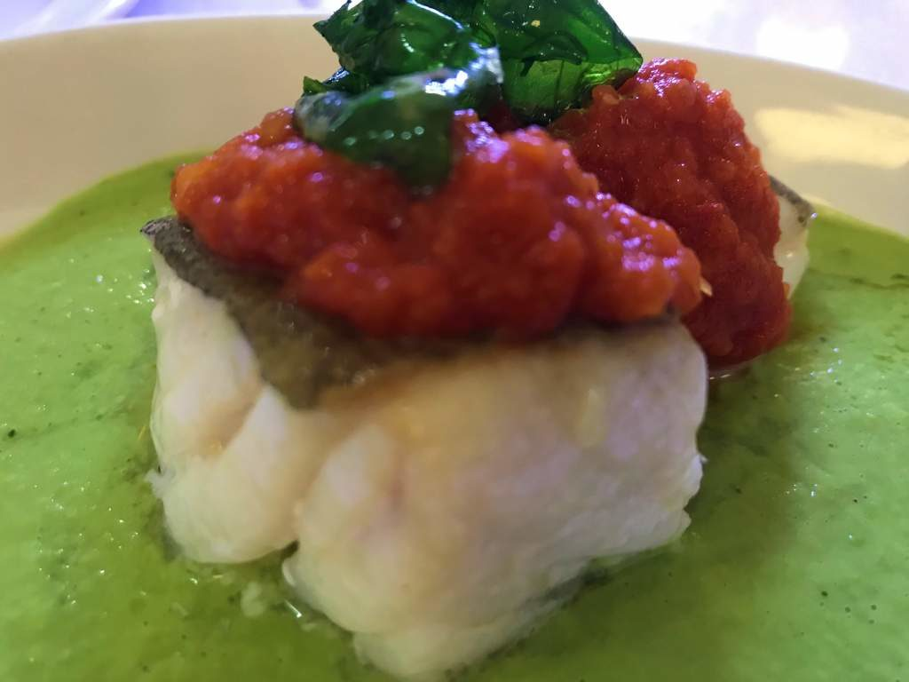 A cod, basil, and tomato tapas dish at La Azotea.