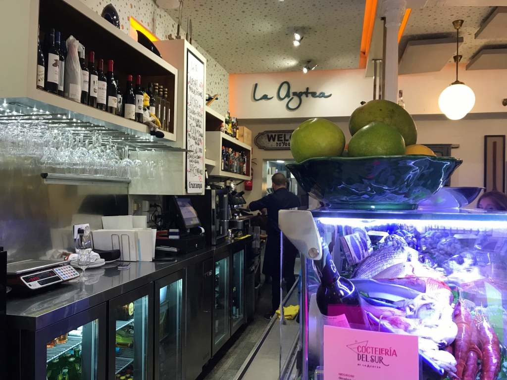 The bar at La Azotea, offering the best fancier tapas in Seville.