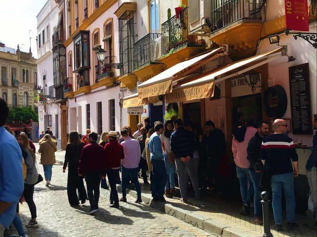 People standing outside La Fresquita.