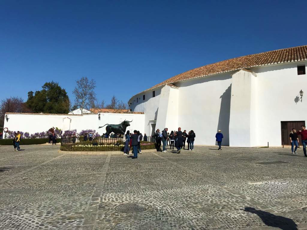 The Plaza de Toros in Ronda, with the large, round white bullring.