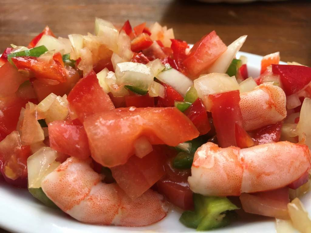 A shrimp salad tapa, which is one of the more unique dishes of the best tapas in Seville on this list.