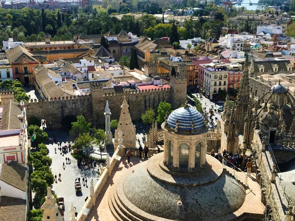 An aerial view of Seville from the Giralda.