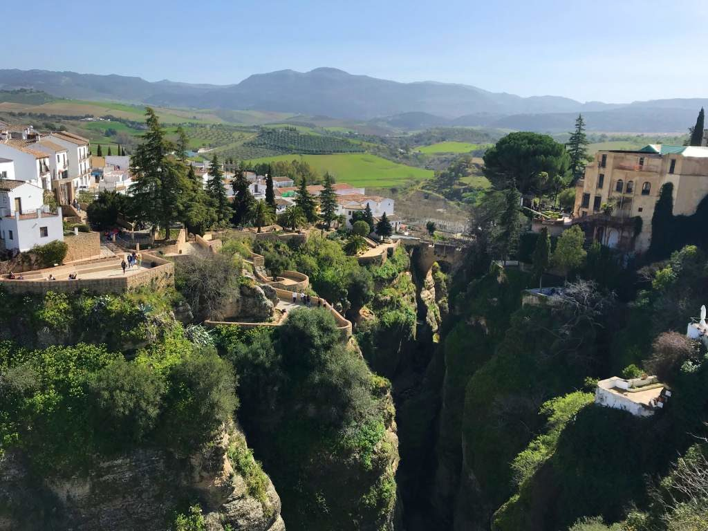 A view of the gorge and countryside in Ronda.