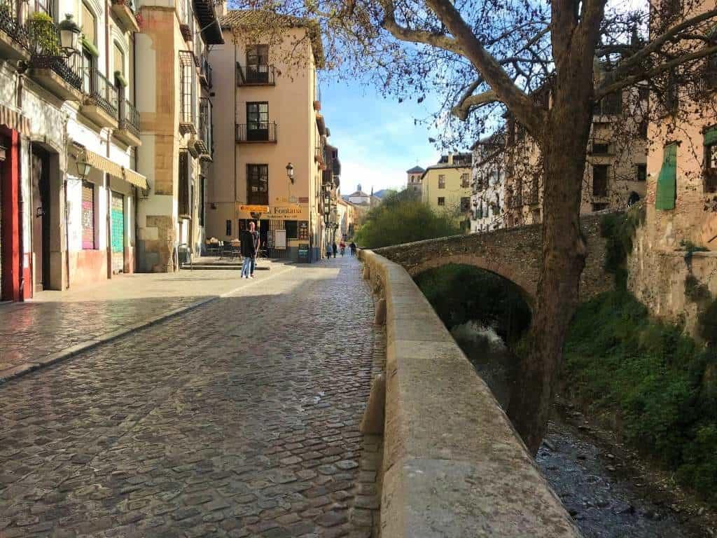 The wheelchair accessible road of Carrera del Darro in Granada.