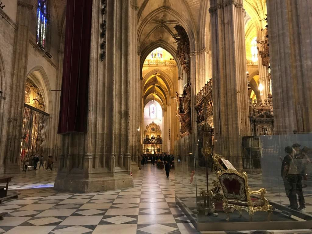 One of the great wheelchair accessible things to do in Seville is rolling through the inside of the cathedral.