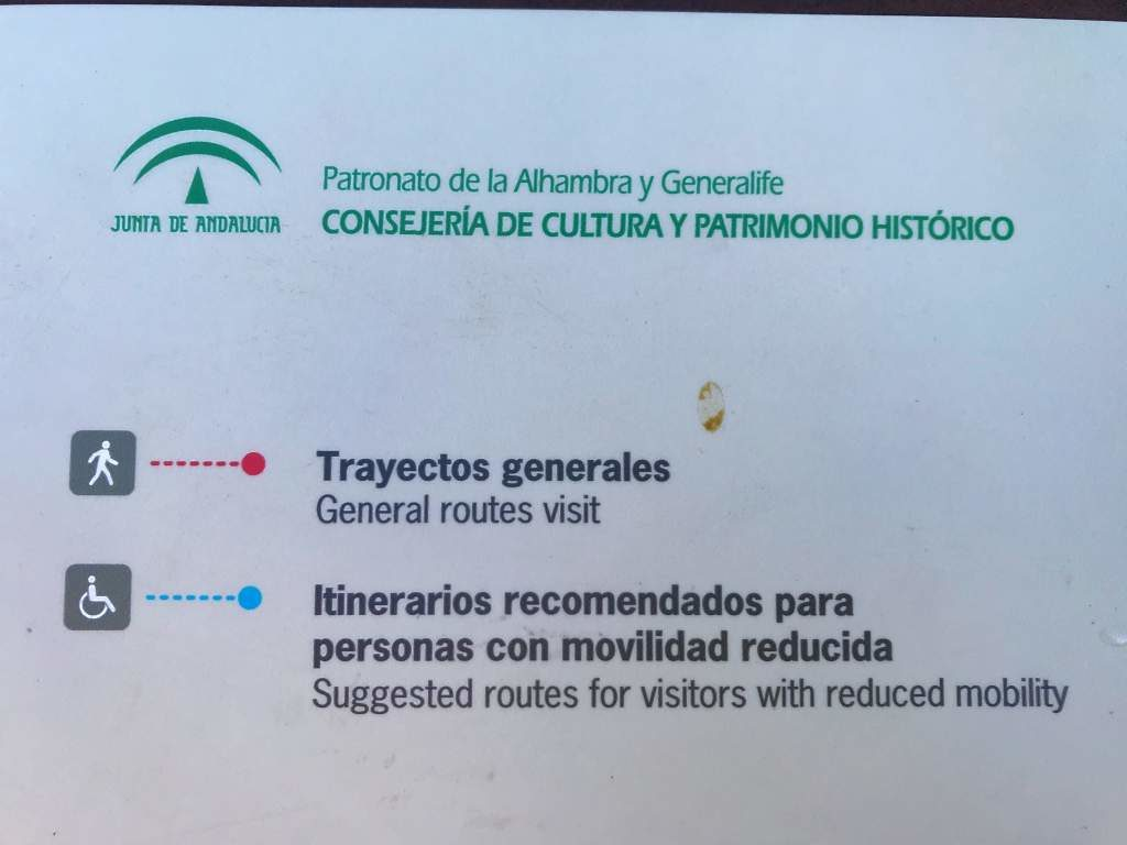 Look for this blue dotted line on the map for the Alhambra's accessible route.