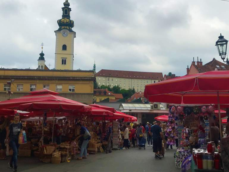 Vendors at the outdoor Dolac Market.
