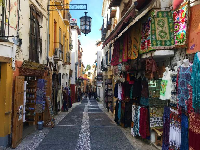 Exploring streets like this in downtown Granada is a great tip in addition to visiting the Alhambra.