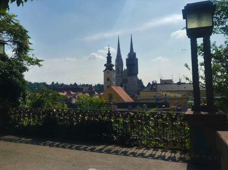 A view of the Zagreb Cathedral spires from the Strossmayer Promenade.