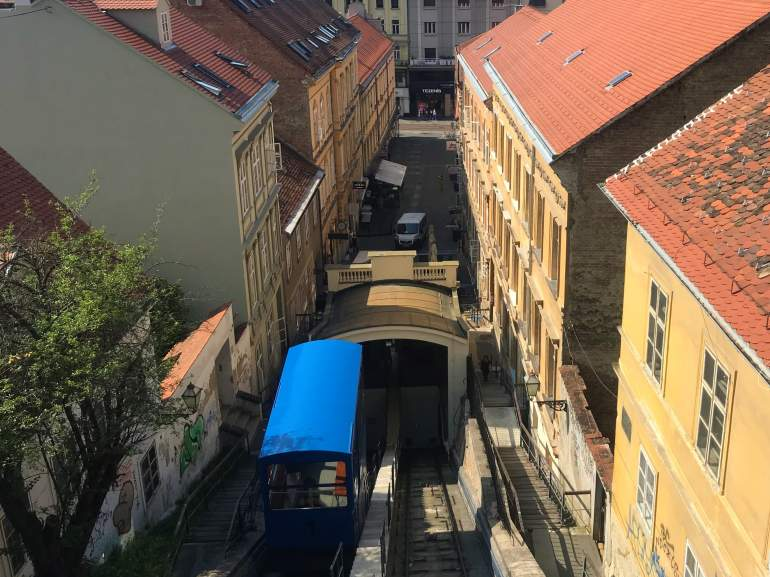 The funicular in Zagreb, Croatia which is the shortest funicular in the world.