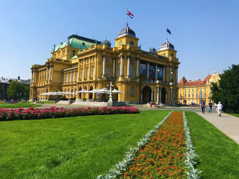 Walking around the grassy squares of the Lenuci Horseshoe is one of the must-see things to do in Zagreb.