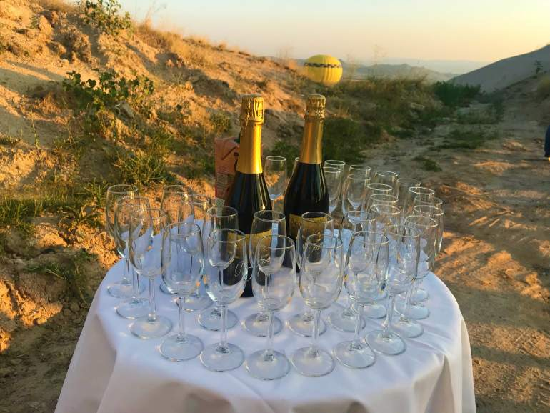 A table of champagne served in the valley.