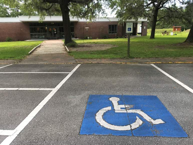 Accessible parking spot at Ft. Anderson.