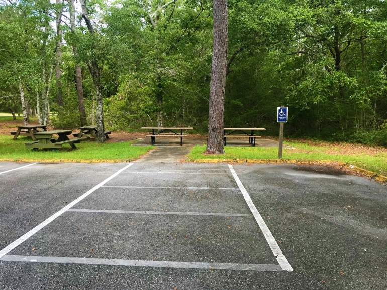 Picnic tables at Fort Anderson