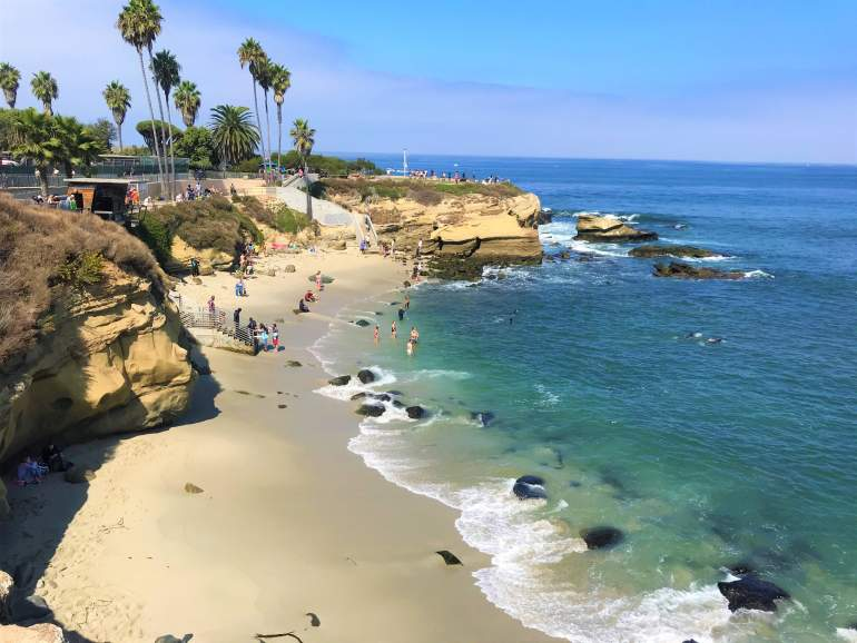 A view of Children's Pool Beach in La Jolla.