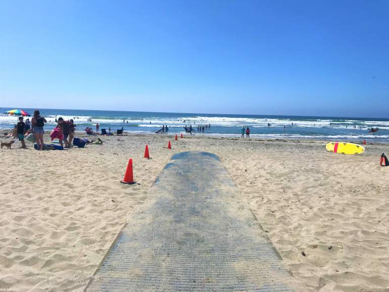 A wheelchair accessible entrance at Moonlight State Beach, San Diego.
