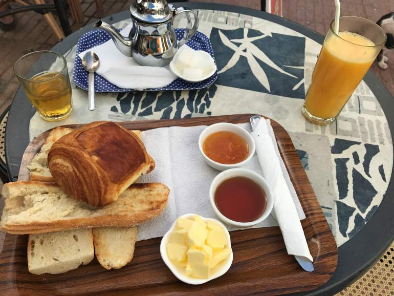 A Moroccan breakfast with bread and jam.