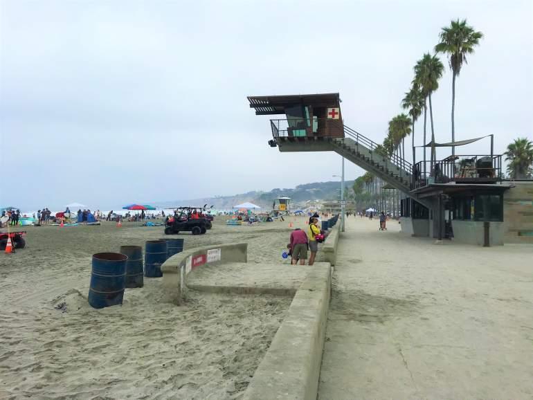 A wheelchair accessible boardwalk at La Jolla Shores Beach, San Diego.