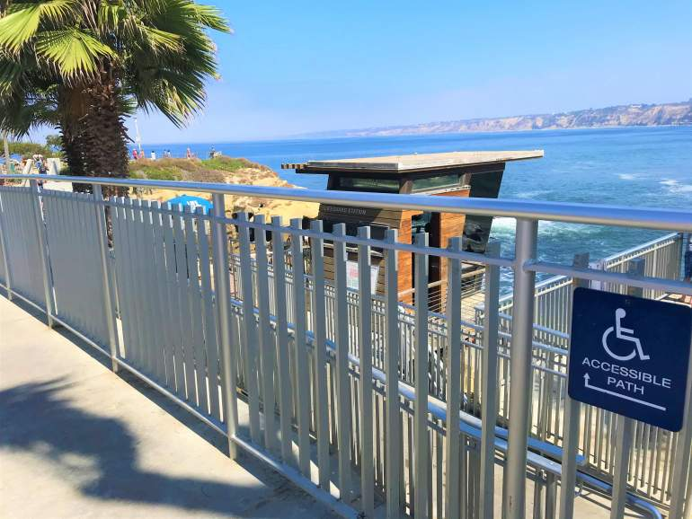 Wheelchair accessible ramp at Children's Pool Beach in La Jolla.