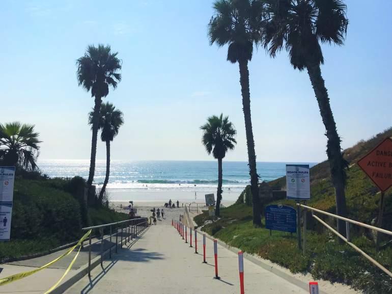 A wheelchair accessible entrance at Solana Beach, San Diego.