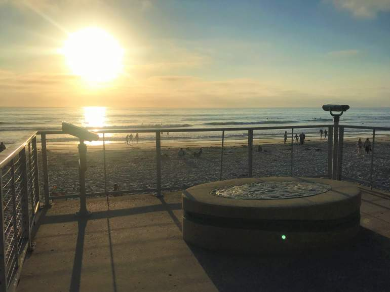 Sunset at an accessible viewpoint in Solana Beach.
