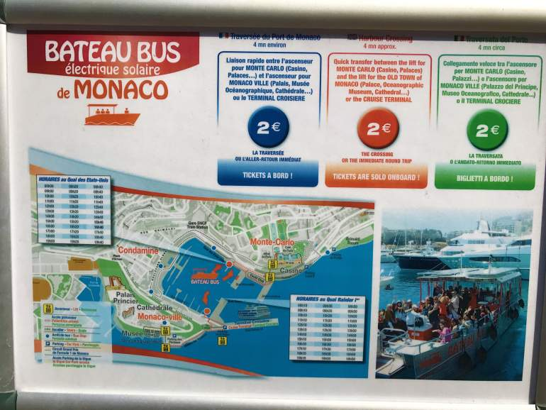 Monaco ferry map with route and timetable.